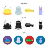 Pincushion με τις καρφίτσες, δακτυλήθρα, εκατοστόμετρο, φόρεμα Καθορισμένα εικονίδια συλλογής ατελιέ στα κινούμενα σχέδια, μαύρο, ελεύθερη απεικόνιση δικαιώματος