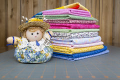 Pincushion Doll with a quilting material Royalty Free Stock Photos
