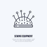 Pincushion flat line icon. Vector sign for sewing studio, tailor store.  Royalty Free Stock Photography