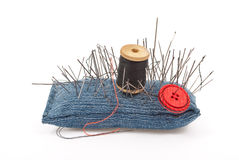 Pincushion with lot of needles Royalty Free Stock Photos