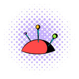 Pincushion with pins icon, comics style Stock Image