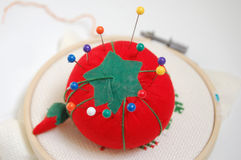 Pincushion with Pins. A strawberry pincushion with multi colored pins in it Stock Images