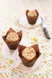 Pindakaas Cupcakes Stock Fotografie