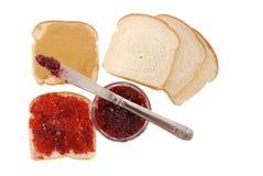 Pindakaas en geleisandwiches Royalty-vrije Stock Foto's