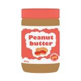 Pindakaas met pinda's Gezonde voeding voor ontbijt Vlakke stijl Stock Fotografie