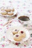 Pindakaaskoekjes met Jam, op lichte achtergrond Royalty-vrije Stock Foto's
