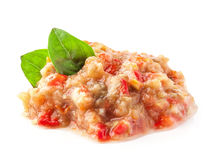 Pindjur - salada com beringela roasted, tomates e pimenta doce fotografia de stock royalty free