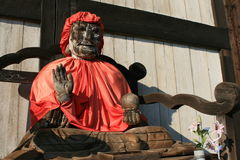 Pindola statue at Todaiji Nara Japan; wood carving Royalty Free Stock Photos