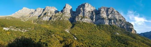 Pindos mountains over Vikos gorge in Zagoria, Epirus, Greece pan Stock Images