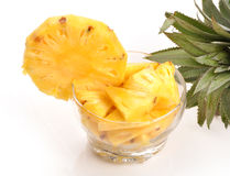 Pine apple. Raw pine apple filled in bowl with leaves Royalty Free Stock Photos
