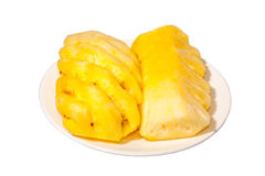 Pine apple. Isolated 2 pieces of pineapple in white dish Stock Image