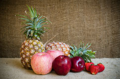 Pine apple strawberries and apple Royalty Free Stock Photos