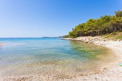 Pine beach, Pakostane, Croatia - Visiting the turquoise bay of Pakostane stock images