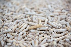 Pine biomass formed in pellets Royalty Free Stock Photo