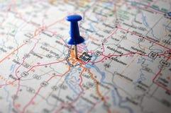 Pine Bluff, Arkansas. A map of Pine Bluff, Arkansas marked with a push pin stock photo
