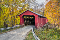 Pine Bluff Covered Bridge Autumn Stock Photography