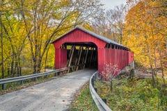 Pine Bluff Covered Bridge Autumn Stock Photography