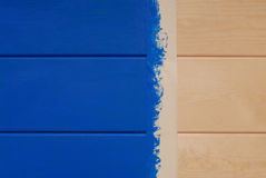 Pine boards painted in blue color and sticky tape Royalty Free Stock Photography