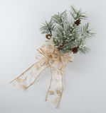 Pine Bough Decoration with Sparkly Gold Bow Stock Photos