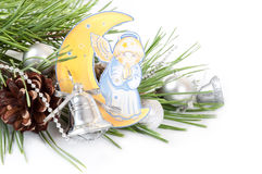 Pine branch and angel Stock Image