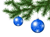 Pine Branch With  Blue Christmas Balls. Pine Branch With Blue Christmas Balls Vectorn Illustration Royalty Free Stock Photography
