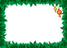 Pine branch border. Green Christmas tree branches and Christmas  toys with white background Stock Images