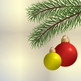 Pine branch with Christmas ball Stock Photo