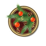 Pine branch with Christmas balls in the frame Royalty Free Stock Photo