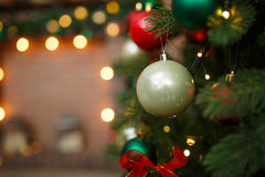 Pine branch with Christmas balls Royalty Free Stock Images
