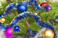Pine branch with Christmas decorations Stock Images