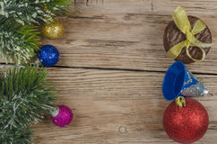 Pine branch with christmas decorations Royalty Free Stock Photos
