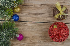 Pine branch with christmas decorations Royalty Free Stock Photography
