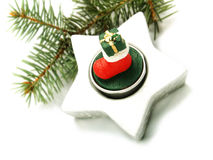 Pine branch, Christmas ornament Royalty Free Stock Images