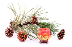 Pine branch with cone and candle Royalty Free Stock Image