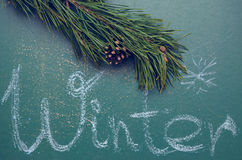 Pine branch and an inscription on a slate chalkboard Royalty Free Stock Image