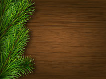 Pine branch on old brown wooden background Royalty Free Stock Photo