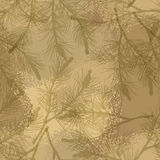 Pine branch seamless pattern camouflage sand Royalty Free Stock Photos
