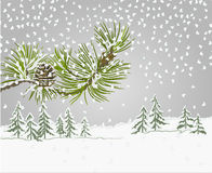 Pine branch with snow christmas theme vector Royalty Free Stock Photo