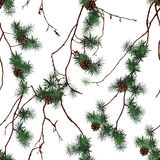 Pine branches chinese seamless vector print Stock Images