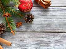 Pine branches with Christmas ball Stock Photos