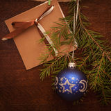 Pine branches  , christmas ball and postcard Royalty Free Stock Images