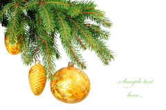 Pine branches and christmas balls Stock Photography