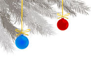 Pine branches and Christmas balls Royalty Free Stock Photo