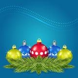 Pine branches with Christmas balls vector Royalty Free Stock Photo