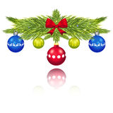 Pine branches with Christmas balls vector Royalty Free Stock Image