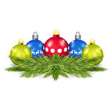 Pine branches with Christmas balls vector Royalty Free Stock Images