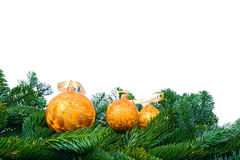 Pine branches and Christmas ornaments Stock Images