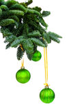 Pine branches and Christmas ornaments Royalty Free Stock Photos