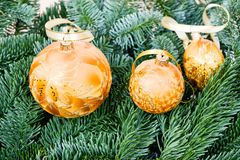 Pine branches and Christmas ornaments Stock Photo