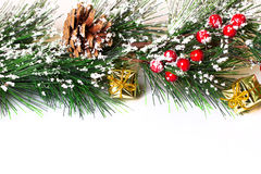 Pine branches with Christmas ornaments Royalty Free Stock Image